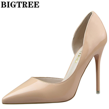 bigtree d'orsay pu leather 10.5cm point toe spike heel nude women's pumps sexy wedding shoes women pumps high heel shoes ds638-5