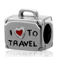CZ Red Enamel I Love To Travel Charms Original 100 Authentic 925 Sterling Silver Beads Fit