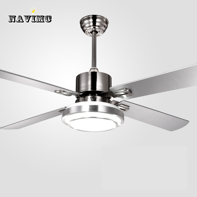 Remote Control Ceiling Fans With Lights Modern Led Fashion Stainless Steel Wing Fan For Decorative