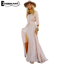 Everkaki 2017 New Fashioh Bohe long dress Women Summer Striped Dresses Half Sleeve Floor-Length Dress High Waist V Neck vestidos