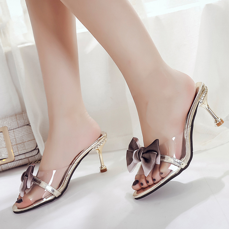 Clear PVC Transparent Pumps Sandals Perspex Heel Stilettos High Heels Point Toes Womens Party Shoes Nightclub Pumps Bow Knot