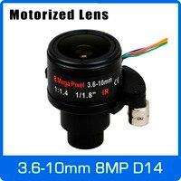 Motor 8Megapixel Varifocal 4K Lens 1/1.8 inch 3.6 10mm D14 Mount Motorized Focus and Zoom For IMX274/178/OS08A10 CCTV IP Camera