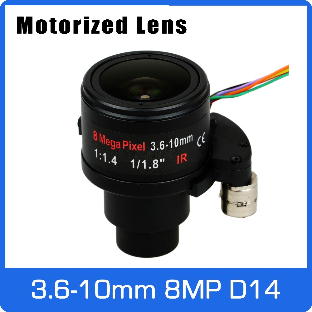 Motor 8Megapixel Varifocal 4K Lens 1/1.8 inch 3.6-10mm D14 Mount Motorized Focus and Zoom For IMX274/178/OS08A10 CCTV IP Camera 8megapixel varifocal cctv 4k lens 1 1 8 inch 3 6 10mm cs mount dc iris for sony imx178 imx274 box camera 4k camera free shipping