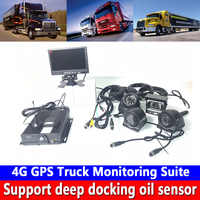 Global network support 4G GPS Truck Monitoring Suite AHD 4CH SD card Monitoring host low voltage protection cycle video recorder