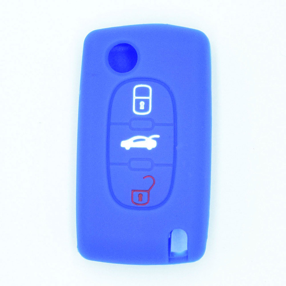 Silicone Key Cover for Remote Control Peugeot 106 107 205 206 207 306 307 308 309 406 407 807 and Citroen C1 C2 C3 C4 Keyring CHIAVE E pink
