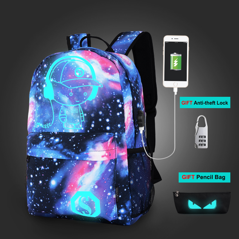 Senkey Style Night Luminous Backpacks Fashion School Bags for Boys and Girls for Teenagers Anime Cartoon Printing School Bagpack new style school bags for boys