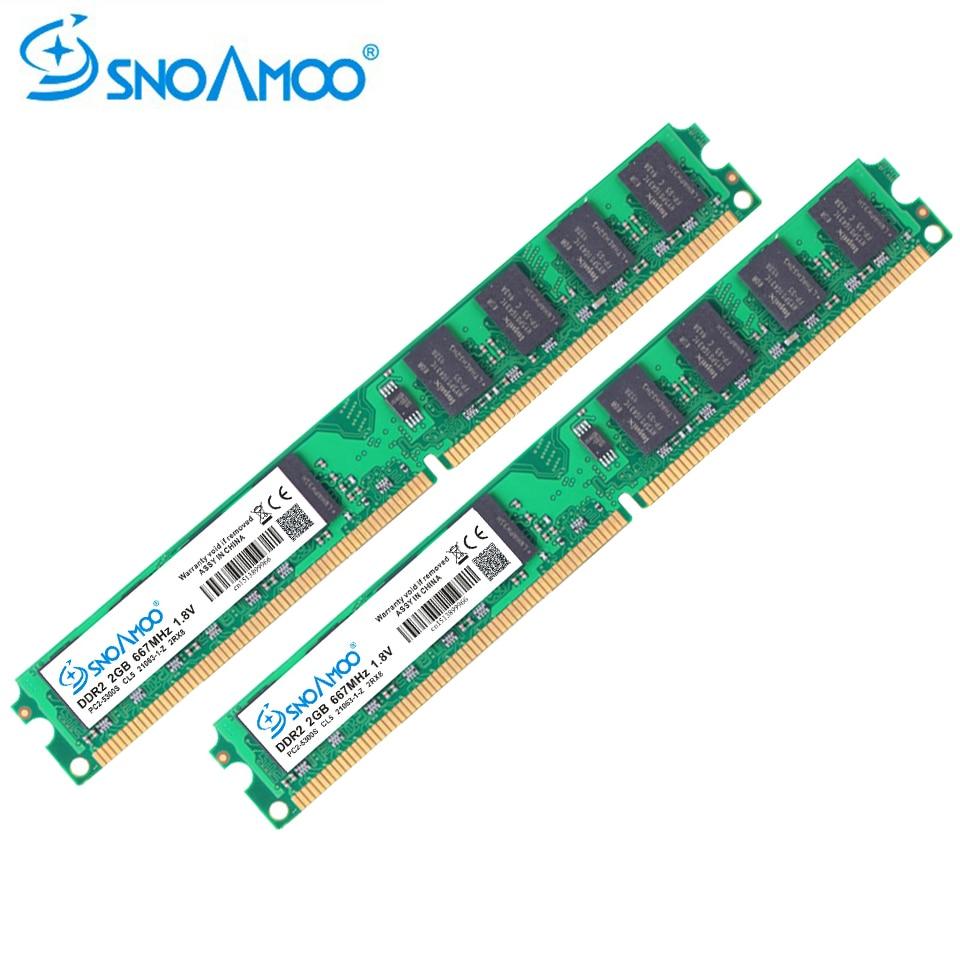 SNOAMOO Desktop PC RAMs DDR2 4GB(2GBx2pcs) RAM 667MHz PC2-6400S 240-Pin 1.8V DIMM For intel Compatible Computer Memory Warranty