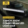 """32 """"300 Вт 5D ForOsram LED Work Light Bar Combo Offroad Вождения лампа Прямой Внешний Фары Трейлер Лодка Автомобилей Лампы Для Jeep VW"""