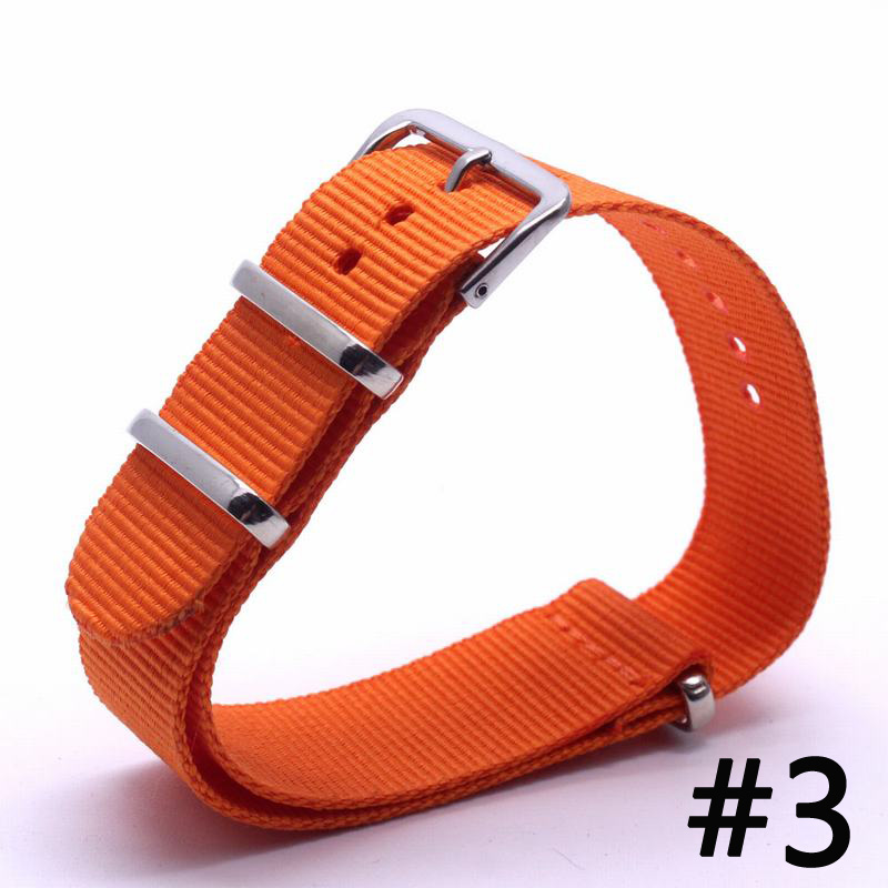 BUMVOR Men's Watch Band Straps 16 18 22 24mm Orange Bracelet Nato Fabric Nylon Watchbands Strap Bands Buckle Belt