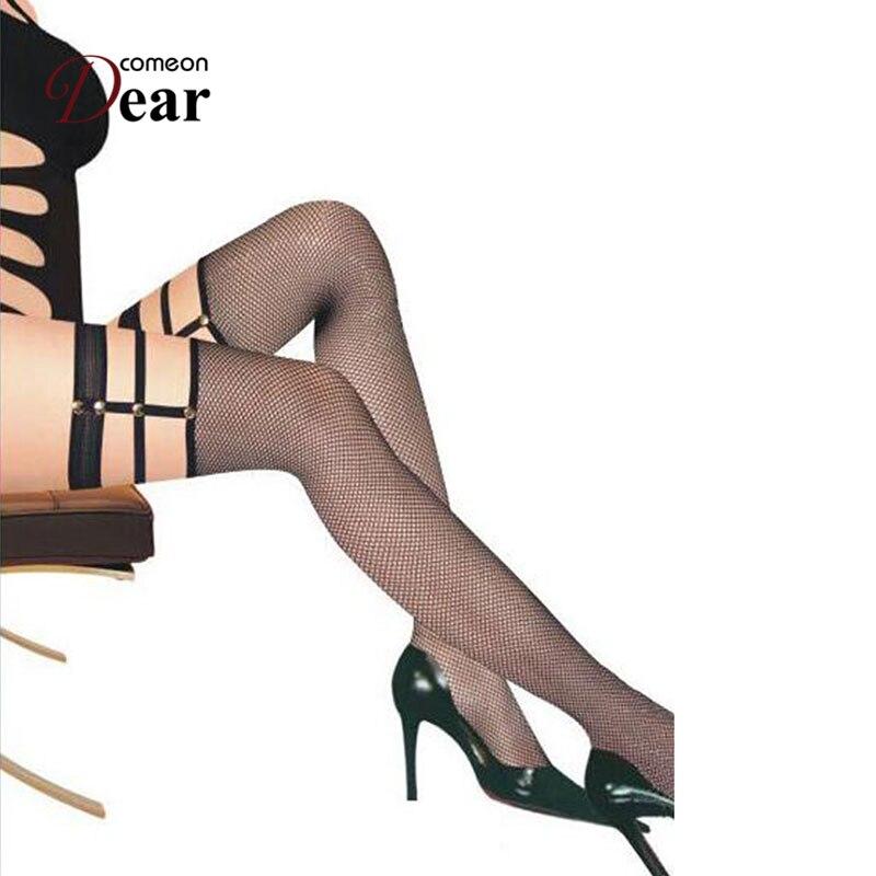 Comeondear Hot Sale Medias Negras Calze Donna Collant Socks Knee Pantyhouse HB2131 Women Mesh Fence Net Over Knee Long Socks