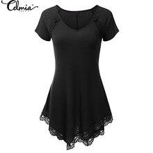 New Arrival CELMIA Women Lace Crochet Blouses Shirts Summer Style V-neck Short Sleeve Irregular Hem Casual Solid Tops Blusas