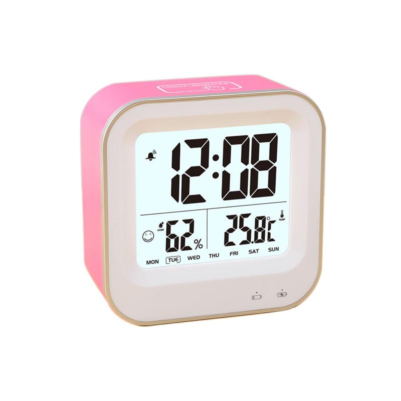 Dobíjecí budík USB pro děti Boys Kids, stolní cestovní hodiny, opakované opakované buzení, týdenní formát 12 / 24h, teplotní vlhkost