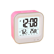 USB Rechargeable Alarm Clock for Boys Kids Teens,Desk Travel Clock,Repeating Snooze,Week 12/24h Format,Temperature Humidity Disp