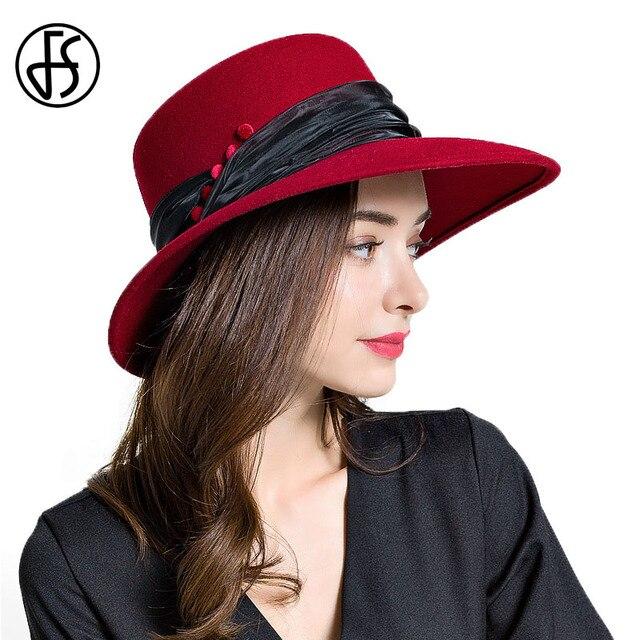 FS Elegant Lady Large Wide Brim Wool Floppy Felt Hats British Style For  Women Winter Fedora b28c4eb967b1