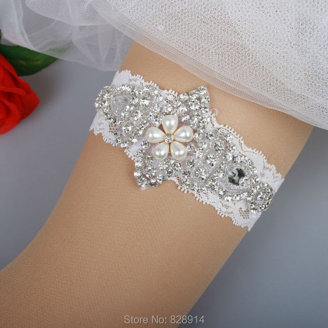 Luxury White Lace Wedding Garter Bridal Garter Handmade With Pearl Beads and Clear Rhinestones