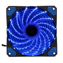 15 Lights 4 Color LED PC Computer Case Heatsink Cooler Cooling Fan DC 12V 4P 3P 120mm 120*120x25mm Red Green White Blue