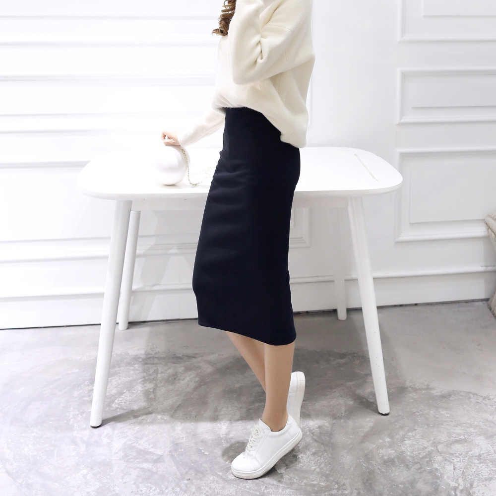 1b146140ac ... SIMPVALE Summer Sexy Chic Pencil Skirts Women Office Skirt Wool Rib  Knit Long Skirt Package Hip