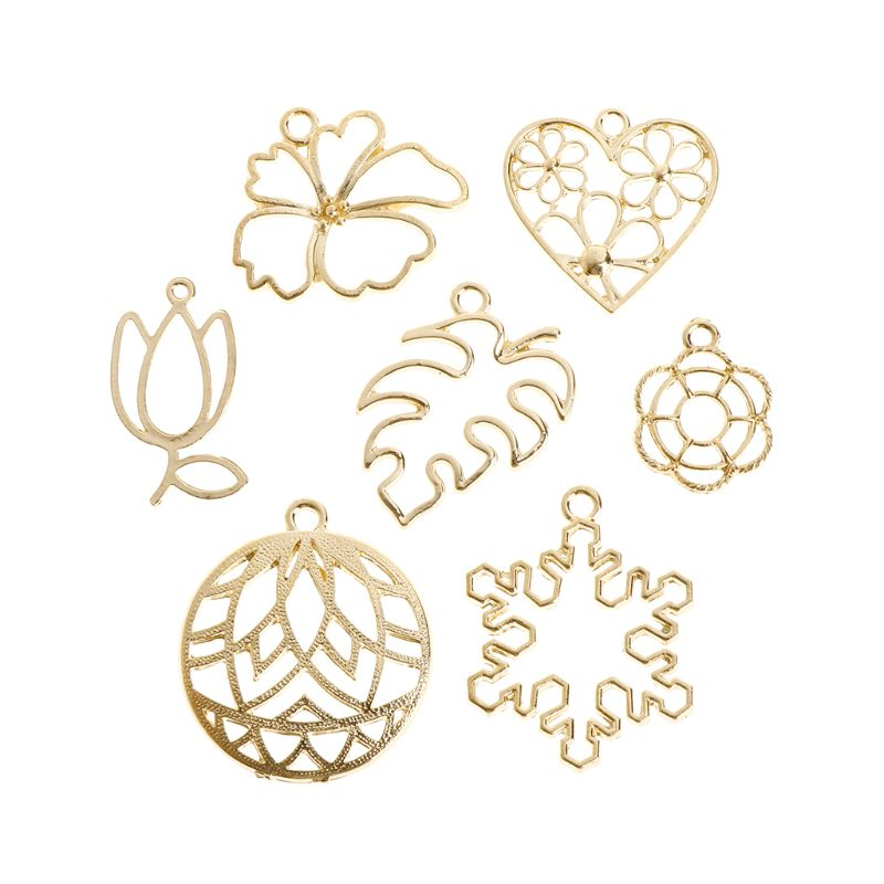 Metal Frame Gold Crystal Epoxy Resin Crafts UV Resin Glue Frames Exquisite Floral Leaf Snowflake Decoration Jewelry Making DIY