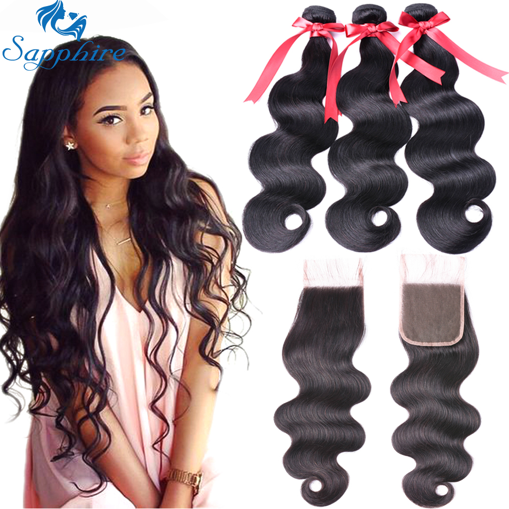 Sapphire Body Wave Bundles With Closure Malaysia Hair Weave 2 or 3 Bundles With 4 4