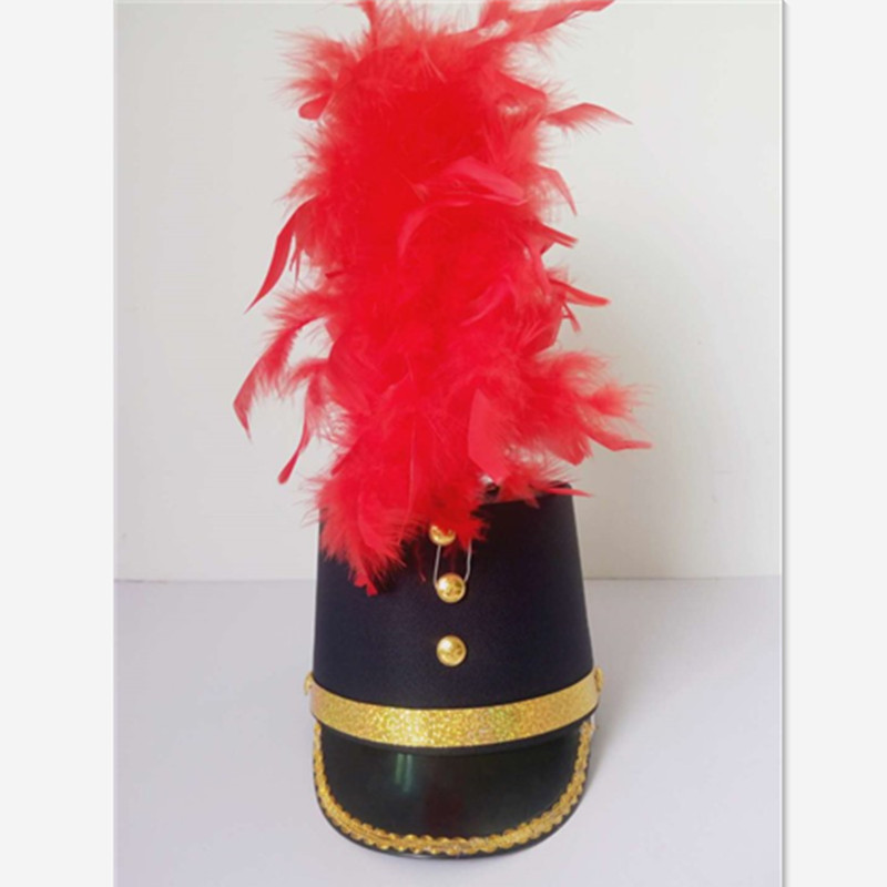 4 Colors High Top Hat With Feather School Performance Hat For Drum Team Military Hat Festival Feather Hat