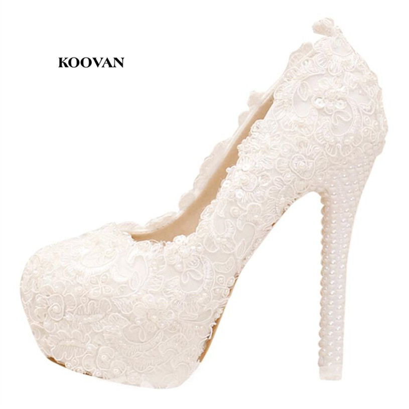 Koovan Wedding Pumps 2017 New Fashion Pearl White Lace Bridal Women Wedding Shoes High Heel Ladies Genuine Leather Shoes new arrival white wedding shoes pearl lace bridal bridesmaid shoes high heels shoes dance shoes women pumps free shipping party