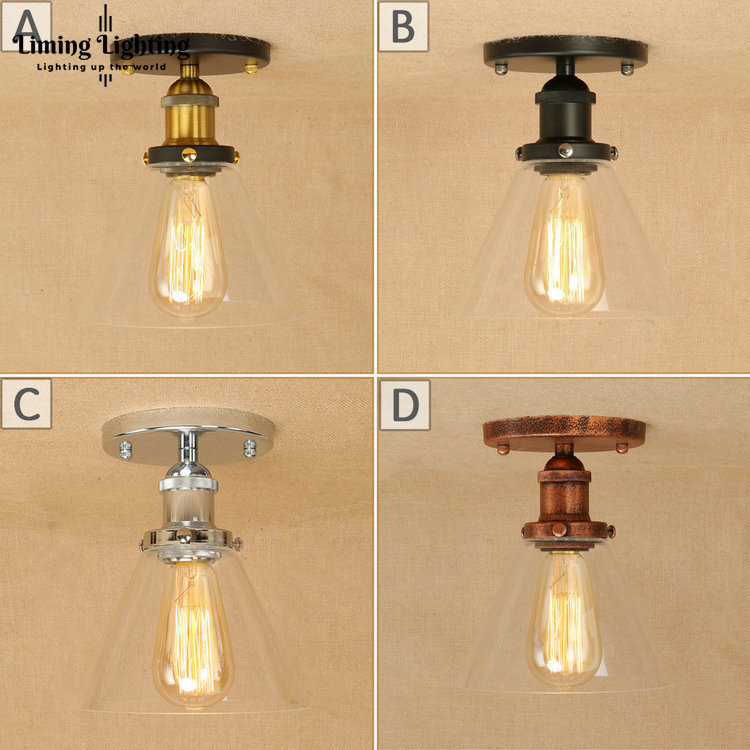 LOFT Edison Vintage Pendant Glass Ceiling Lamp Light Cafe Bar Coffee Shop Bedside Hall Way Living Room Iron Luminaria Lighting