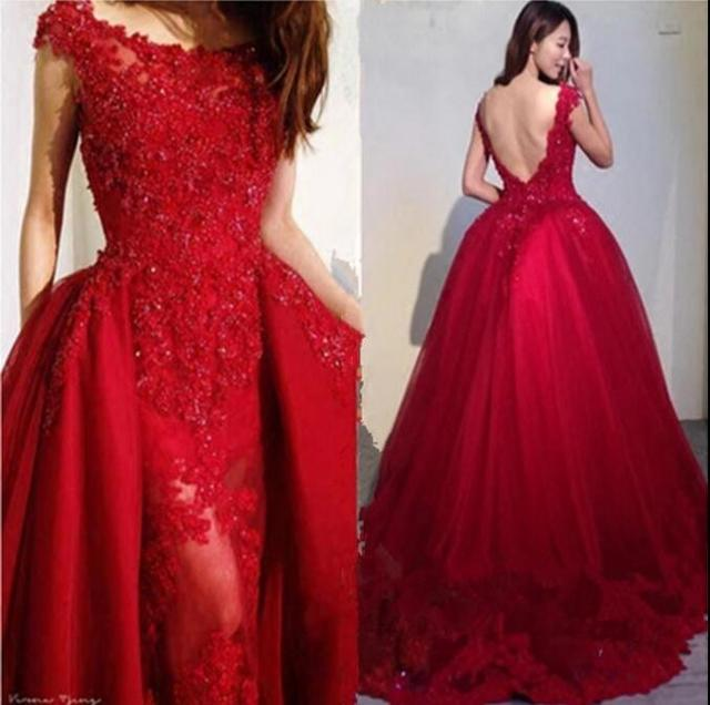 Red Lace Long Prom Dress