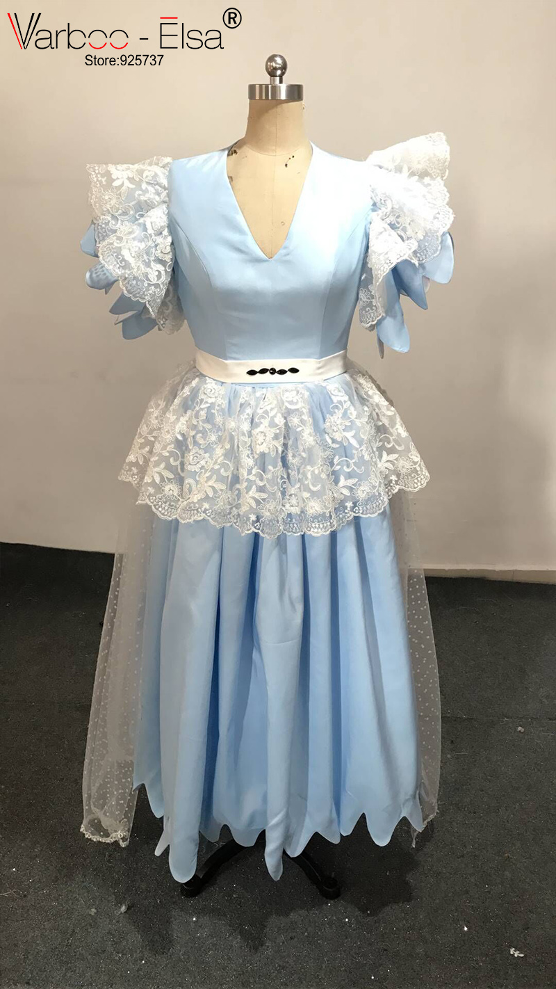 VARBOO_ELSA Light Blue Satin and Lace Evening Dress Cute Ruffles ...