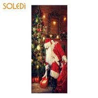200*77CM Chirstmas Door Sticker Christmas Wallpaper Christmas Wall Sticker Cartoon Fashion Shop Waterproof