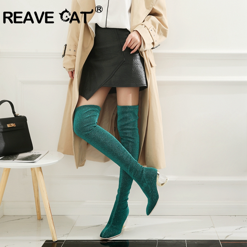 meet wholesale sales best REAVE CAT Women Stretch Slim Thigh High Boots Sexy Over the Knee ...