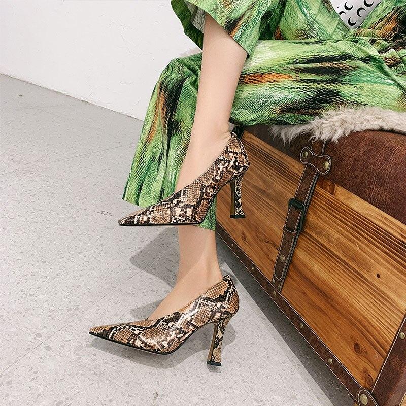Talons Soirée As À 2019 Profonde Mode Véritable Peu Chaussures Cuir Carré Souliers Serpent En Hauts Bout Date Peau De Femmes Show XHXY7