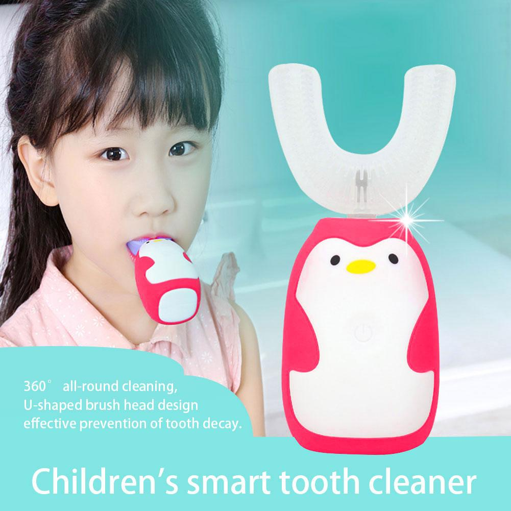 Electric Toothbrush U-shaped Ultrasonic Charging Smart Automatic IPX7 Waterproof Toothbrush Tooth Cleaner for 2-12 Years Old Kid