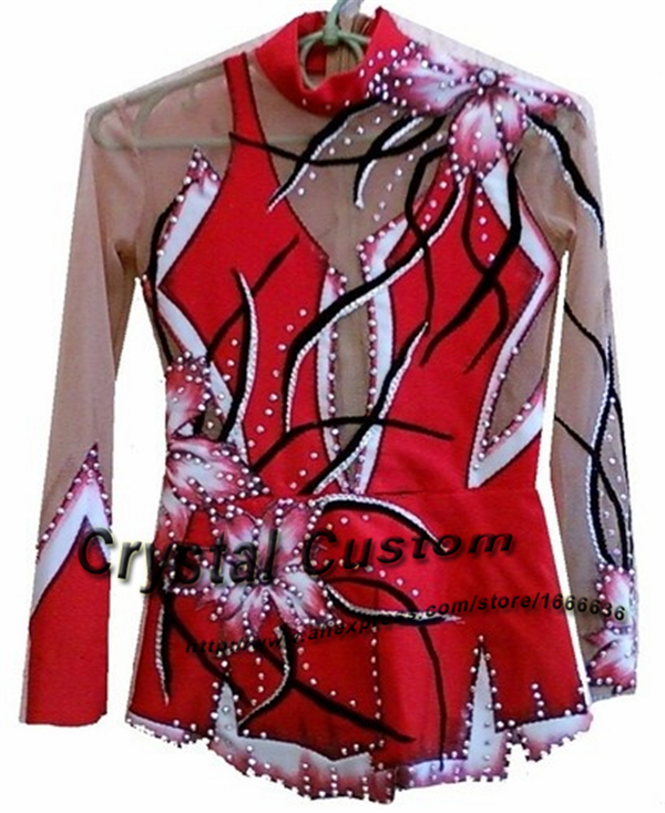 Custom Rhythmic Gymnastics Dresses With Hand Painting Beautiful New Brand Gymnastics Competition Dress Kids G2088