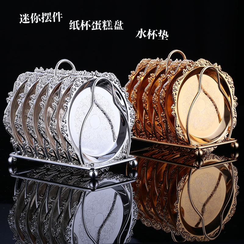 6pcs/ set Metal sliver/gold color Afternoon tea snack rackServing cake Tray Cake Party and Wedding party Decoration Trays FT007