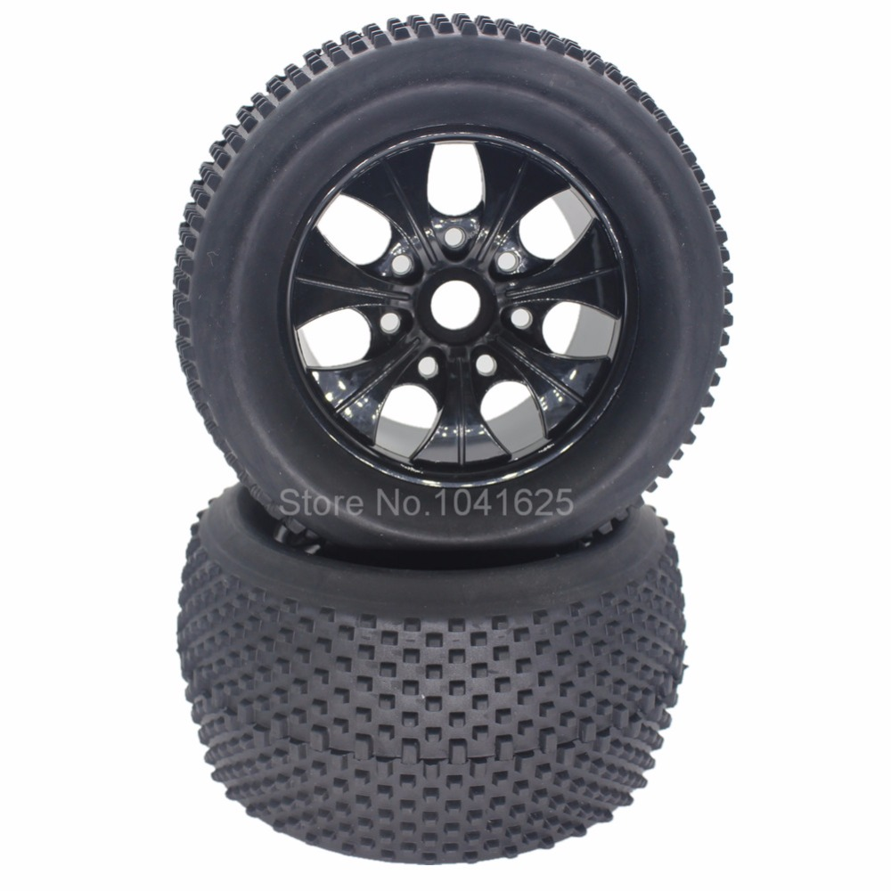 цены 4Pcs/Set 140mm RC 1/8 Monster Truck Tires Plastic Wheels & 17mm Hex Hub For HSP HPI Redcat Exceed Traxxas Kyosho Baja