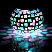 Special Handmade Colorful LED Mosaic Solar Light Magic Sunshine RGB Changing Night Light Lovely Table Lamps