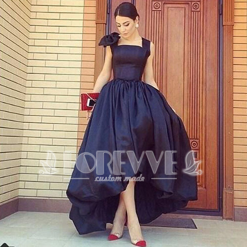 15fb244a29 Fashion Black Satin Prom Dress 2019 High Low Slim Cut Formal Prom Dresses  Party Gowns Vestidos De Fiesta Curto Abendkleider-in Prom Dresses from  Weddings ...