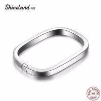Shineland Hot Sale Authentic 100 925 Sterling Silver Square Bangle Bracelet For Women Men Punk Statement
