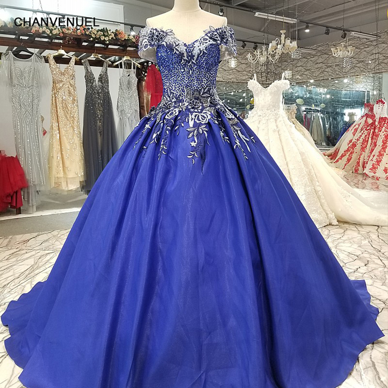 LS1099 blu off spalla una linea di abito da sera manica corta lace up torna raso a buon mercato vestito con il treno per sexy madri di brides
