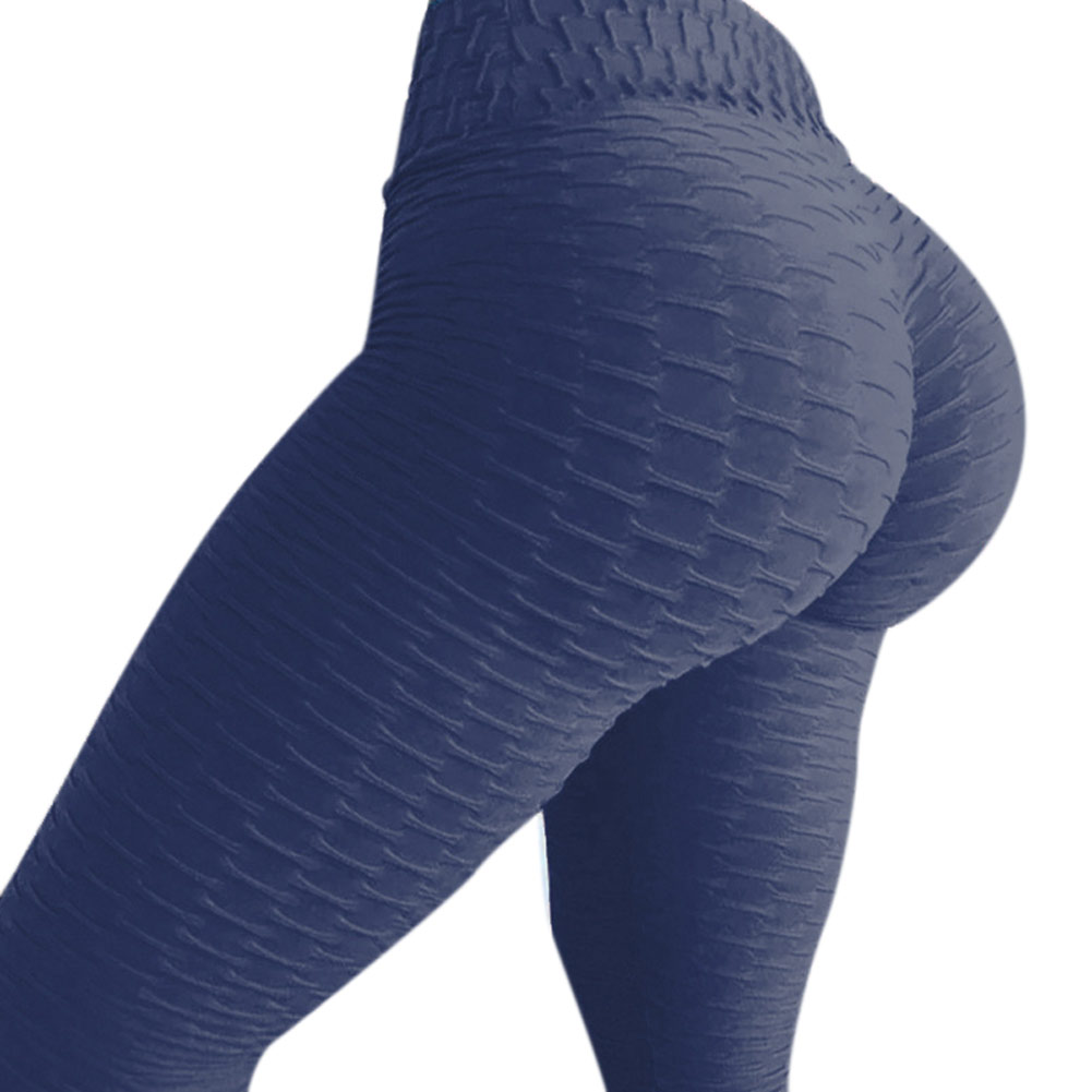Women High Waist Ruched Textured   Legging   Butt Lift Pants Skinny Workout Stretch Fit NGD88