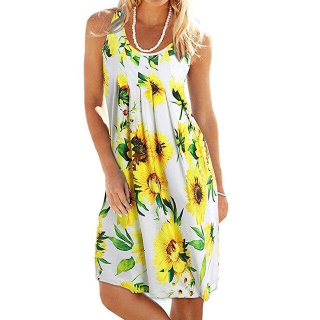 a174ae8dd2e FeiTong Sunflower print summer dress women Sleeveless yellow mini dress  2018 Casual beach short dresses female