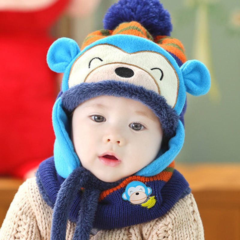 New Super Soft Baby Infant Toddler Cute Animal Warm Winter Beanie Hat and Scarf