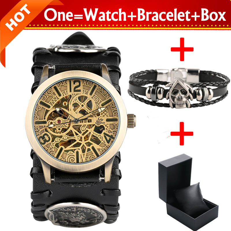 SHENHUA Bronze Skeleton Gear Men's Mechanical Automatic Watch Steampunk Clock Male Retro Leather Watches with Bracelet Gift Box