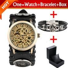 SHENHUA Bronze Skeleton Gear Men's Mechanical Automatic Watch Steampunk Clock Male Retro Leather Watches with Bracelet Gift Box цена 2017