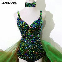 Bright Crystals sexy Bodysuit singer DJ female costume jazz dance costumes catwalk performance clothing leading dancer Costumes