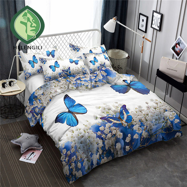 HELENGILI 3D Bedding Set Flowers butterflies Print Duvet cover set bedclothes with pillowcase bed set home Textiles #XH-02