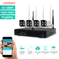 LOOSAFE WIFI Surveillance Cameras System NVR Security Kit 4CH 1080P HD Wireless Home CCTV Outdoor IP
