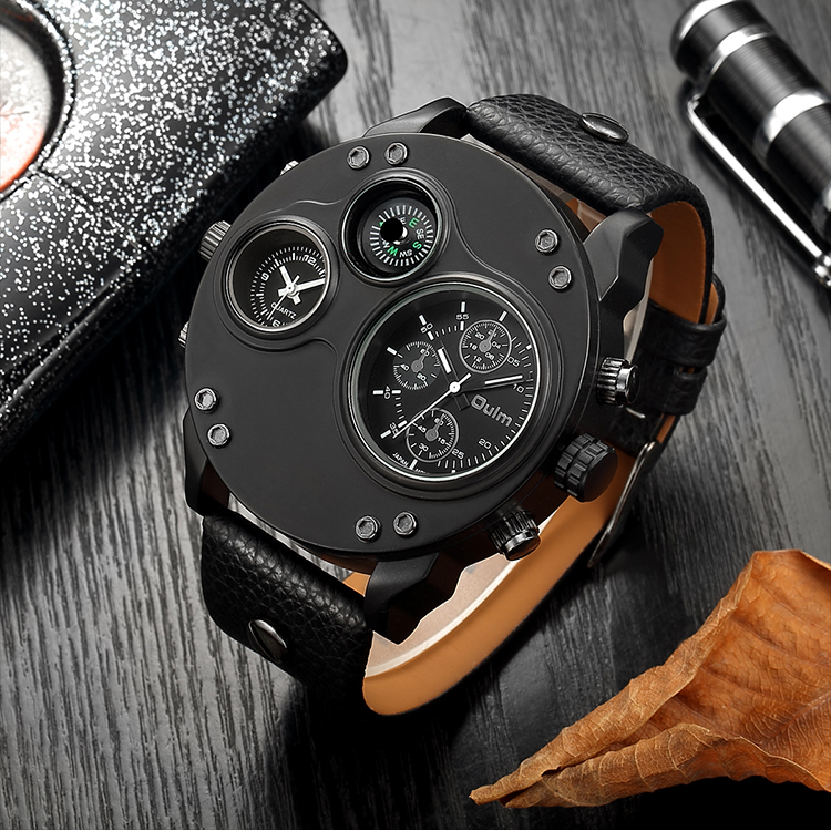 Military Watch Men Sports Watches Quartz Clock Working Sub-dial Genuine Leather Strap Big Size Dial Waterproof Mens Wristwatch image