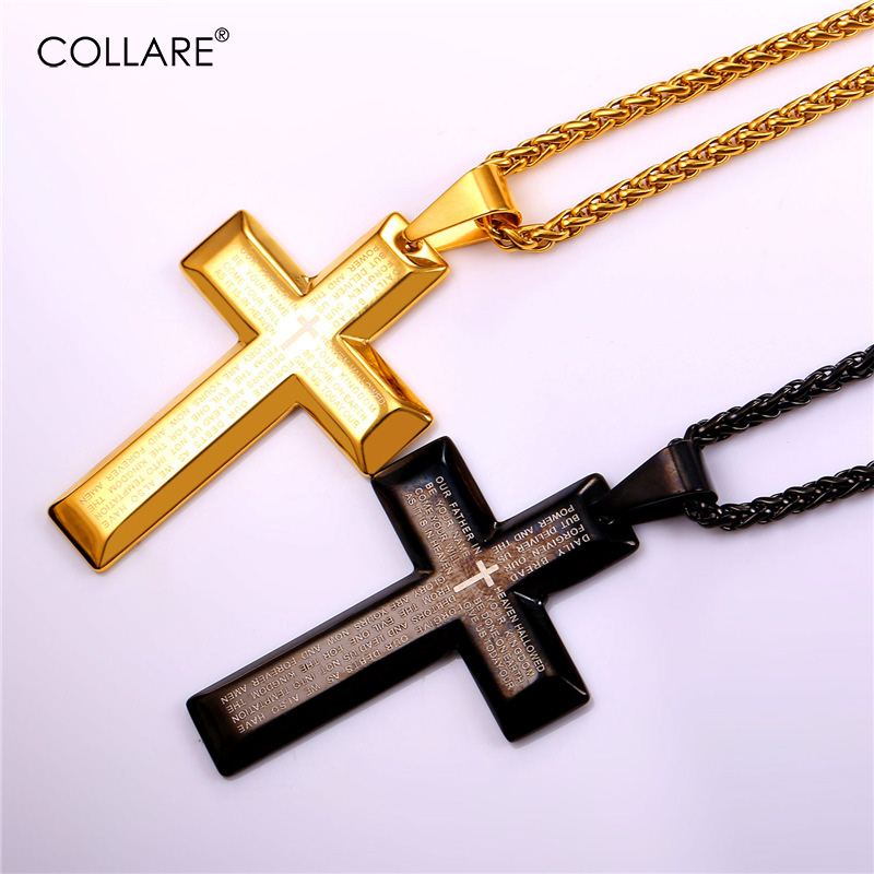 Collare Bible Cross Pendant Stainless Steel Accessories Gold/Black Color Wholesale Necklace Woman Men Christian Jewelry P976