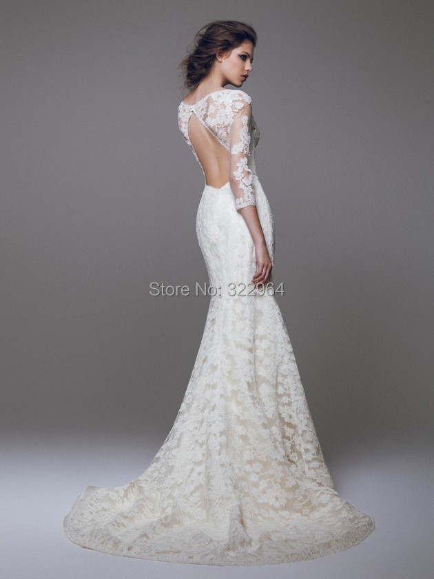 2015 Boho Wedding Dresses with Sleeves Vintage Lace Brautkleider ...